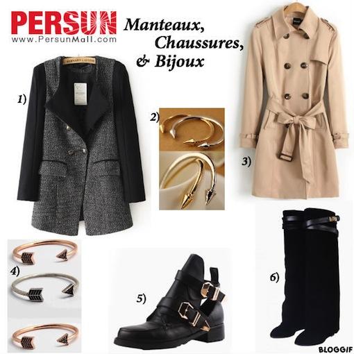 persun mall manteaux chaussures bijoux