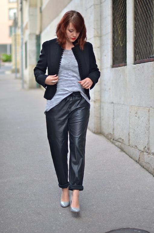 baggy cuir h&m look blog 1