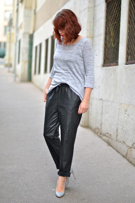 baggy cuir h&m look blog7