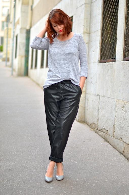 baggy cuir h&m look blog3